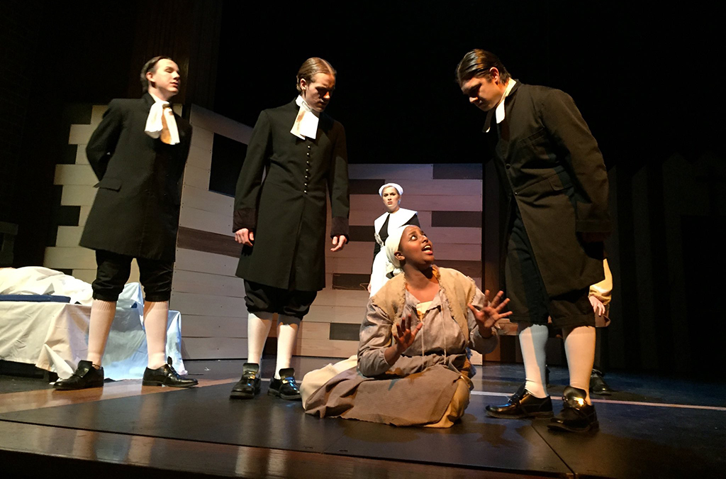 Dominic Jones, Isaac Francis, Krista Raymond, Esther Yebei, and Jackson Stollings in Noblesville High School's production of The Crucible.