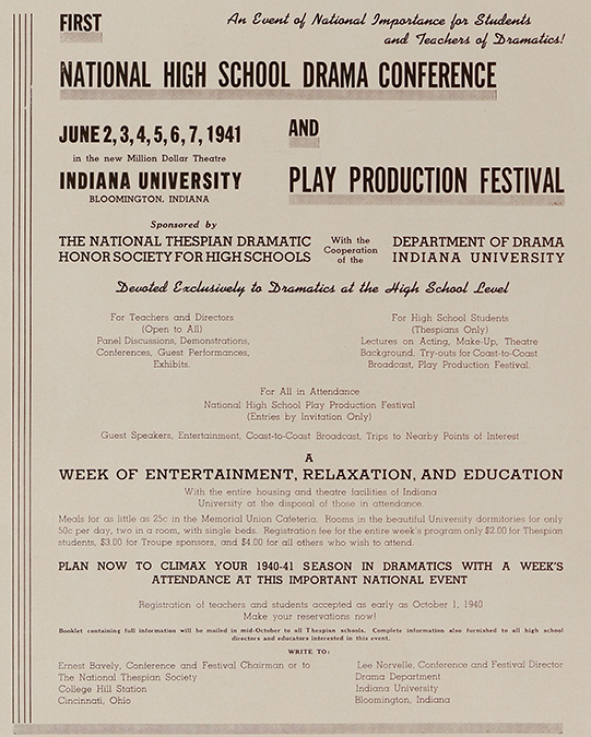 An advertisement for the first National High School Drama Conference in The High School Thespian