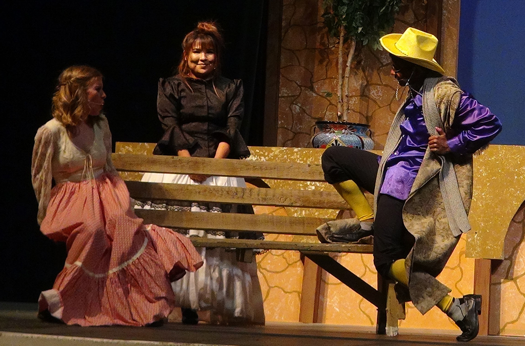 Bella Odyke, Linda Gomez, and Aaron Matthews in Highland High School's (Az.) production of Twelfth Night.