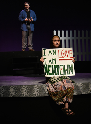 Dan Stewart and Isabella Fedele in Parkland High School's production of 26 Pebbles.