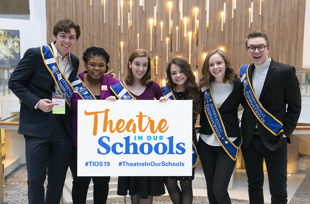 Martin (center) advocated for theatre education with her fellow 2018-19 ITOs at the 2019 National Arts Action Summit in Washington, D.C. Photo by Katie Ferchen.