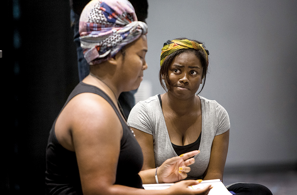 Kelly Bolden and Myah Lumford in the 2018 International Thespian Festival staged reading of Umtya.