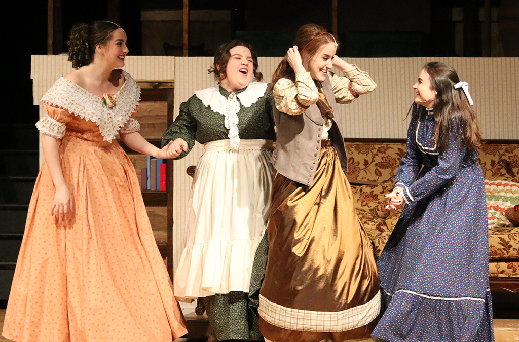 Lauren Schimandle, Lydia Campbell, Emma Skaggs, and Emily Childs in McIntosh High School's production of Little Women.