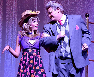 Anna Quillin and Carson Reed in Arab High School's production of Xanadu.