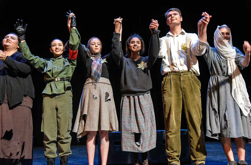 Thespians from Sahuarita (Ariz.) High School take a bow following their Chapter Select production of I Never Saw Another Butterfly. Photo by Susan Doremus.