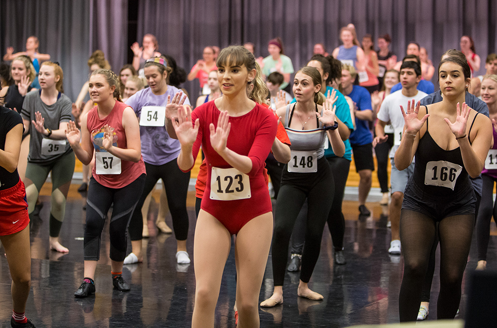 Thespians dance their hearts out during the college dance auditions.