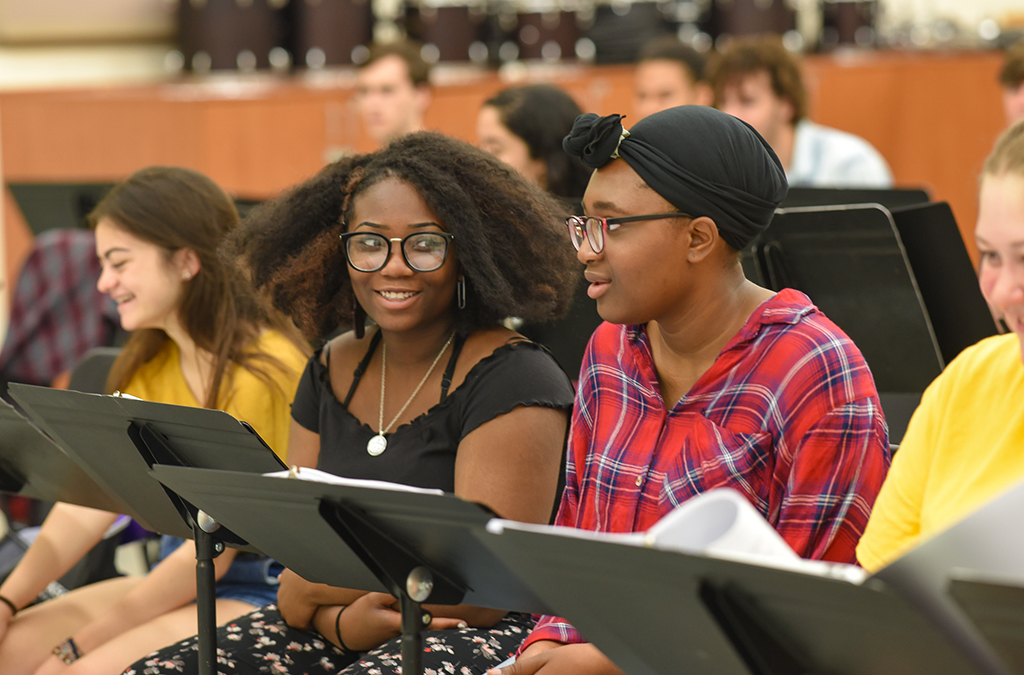 Cast members go over music for the Next Generation Works commissioned musical, Dreamland.
