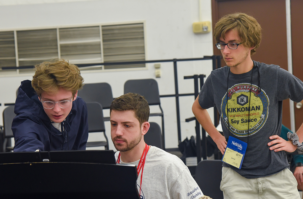 Max Reinert and Jared Goudsmit (standing) in rehearsal for their original Thespian Musicalworks show, Wrath of the PTA.