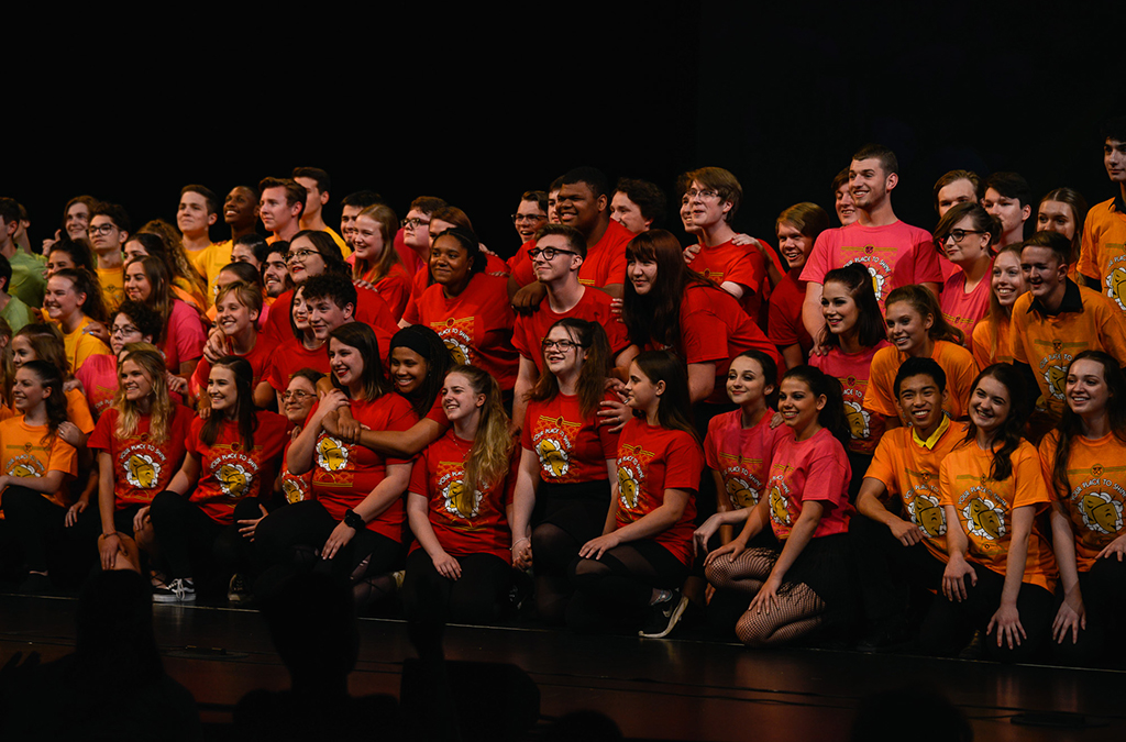 Students perform a song written especially for ITF by Thespian alum Andrew Lippa.