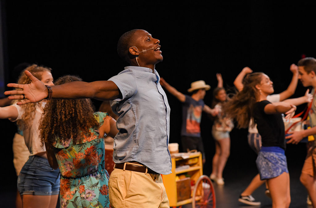 Student performers rehearse for the International Thespian Festival opening show.