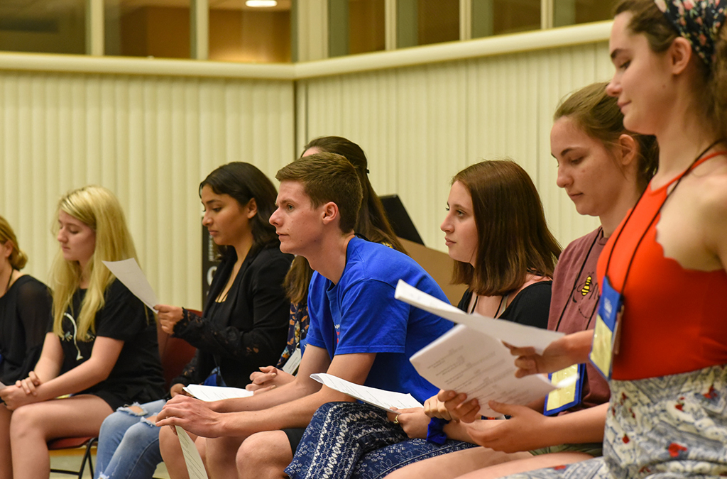 Students wait for their chance to audition for the Thespian Playworks program.