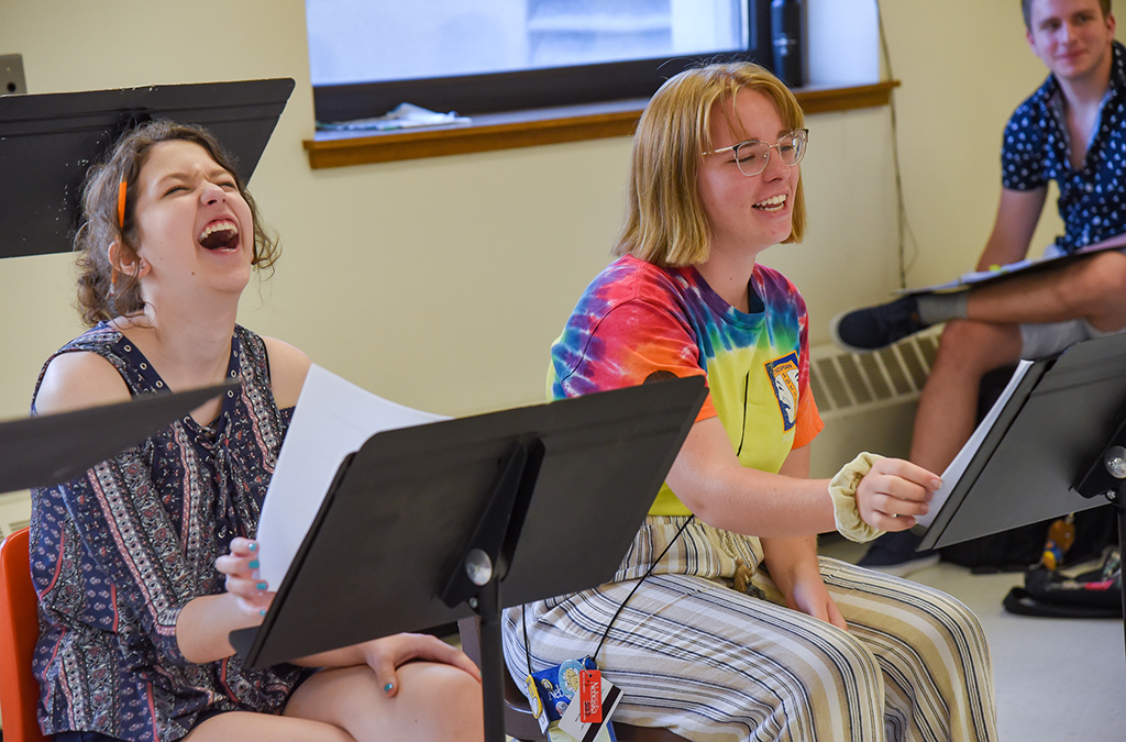 Cast members share a laugh during rehearsal for the Next Generation Works commissioned play Susie Sits Shiva.