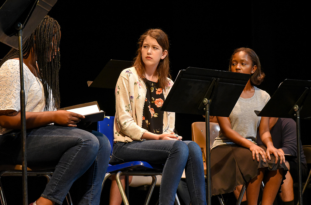 The cast of the Next Generation Works commissioned play in the staged reading of Susie Sits Shiva. Photo by Susan Doremus.