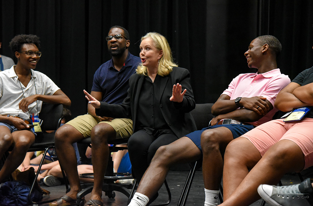 Susan Stroman participated in a panel discussion with cast members of the Bradford High School production of The Scottsboro Boys.