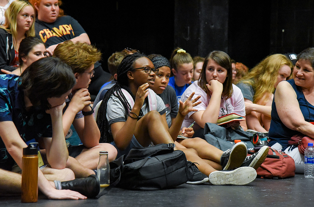 Thespians participate in a panel discussion with Tony Award-winning director and choreographer Susan Stroman and cast members of the Bradford High School production of The Scottsboro Boys.