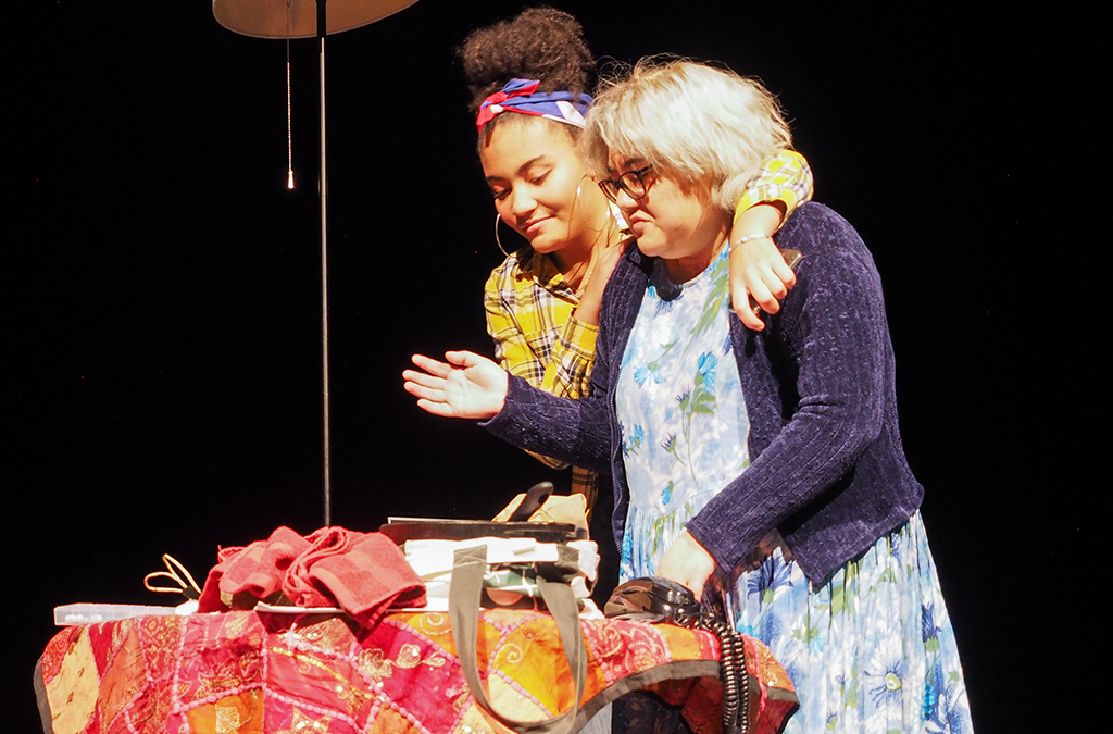 Vivian Santos-Smith and Adriana Martinez in Somerville High School's production of Holy Broth.
