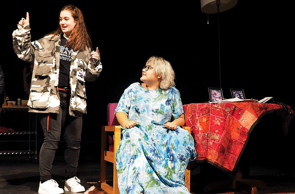 Student director Valerie Farley (left) and actor Adriana Martinez rehearse Holy Broth.