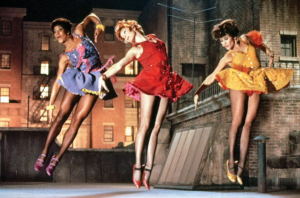 Paula Kelly as Helene, Shirley MacLaine as Charity, and Chita Rivera as Nickie in Bob Fosse's feature film directorial debut, the 1969 musical Sweet Charity, which he also choreographed.