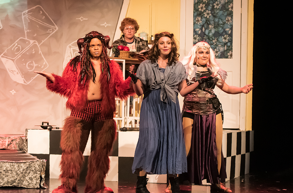 Gehazi Whitehurst, Noah Sutton, Livy Potthoff, and Lydia Holterman in St. Charles High School's production of She Kills Monsters.