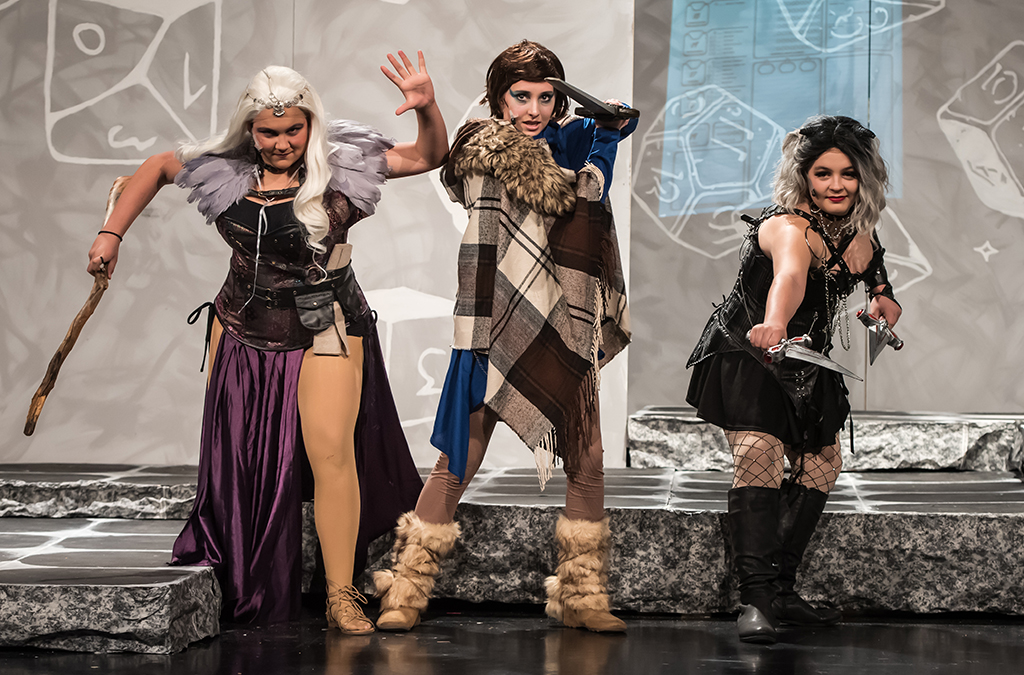Lydia Holterman, McKenna Hendershott, and Ava Rusbacky in St. Charles High School's production of She Kills Monsters.