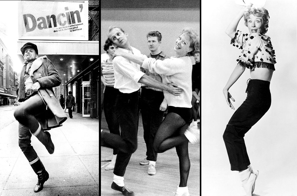 Bob Fosse in front of the Dancin' marquee (1978), Fosse and Gwen Verdon rehearsing New Girl in Town (1957), and Verdon in the film of Damn Yankees (1958). All photos courtesy of Photofest.