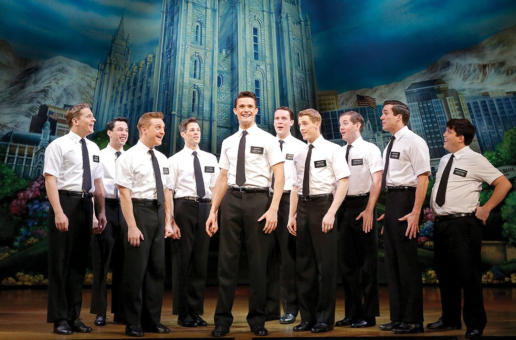 Grey Henson (fourth from right) made his Broadway debut as Elder McKinley in The Book of Mormon.