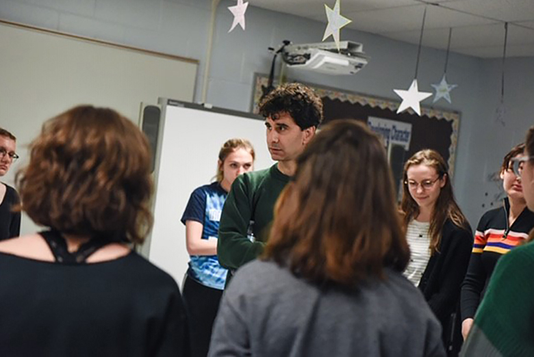 John Cariani used improv exercises to teach playwriting concepts at Indian River High School.