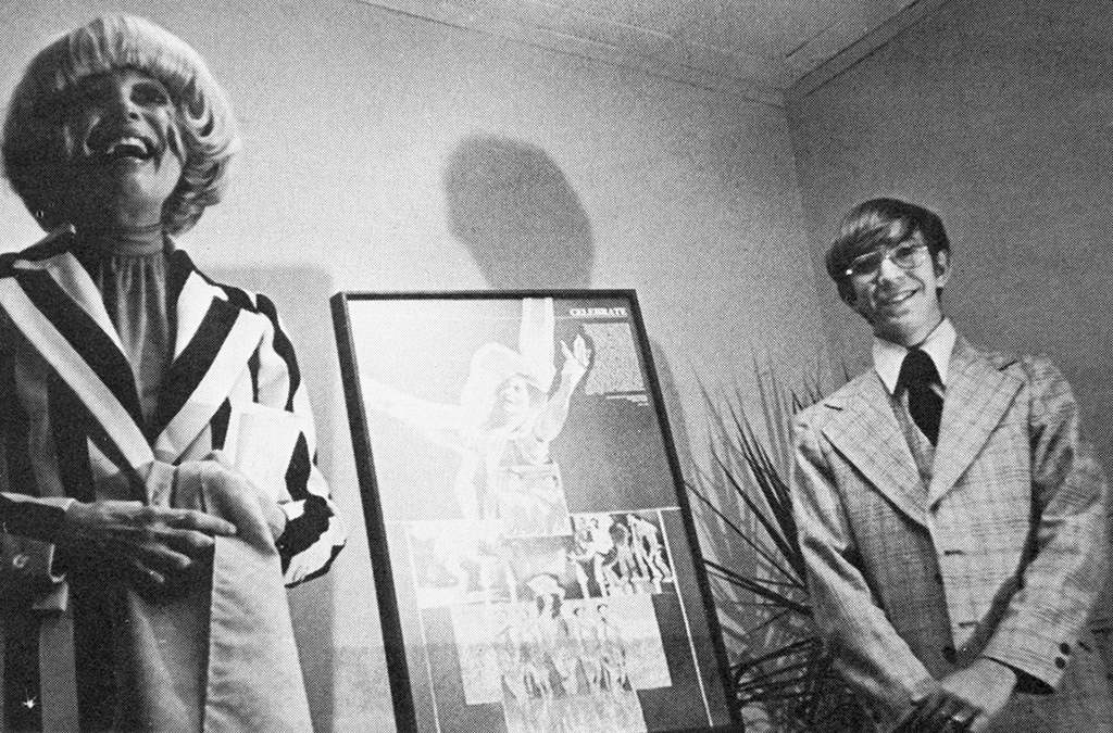 1976: Actress Carol Channing and student David Finkel (the millionth Thespian inducted) dedicate the society's new headquarters.