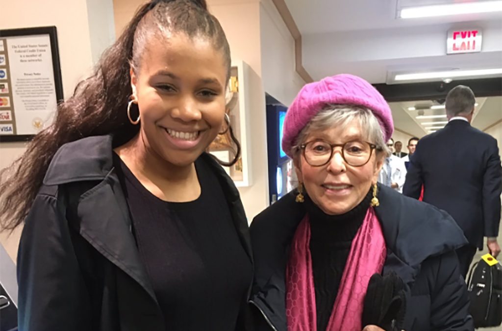 Brannon Evans with award-winning actor Rita Moreno at the 2019 National Arts Action Summit.