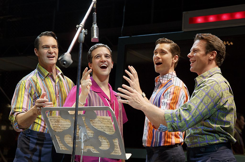 Matt Bogart, Mark Ballas, Drew Seeley, and Nicolas Dromard in Jersey Boys.