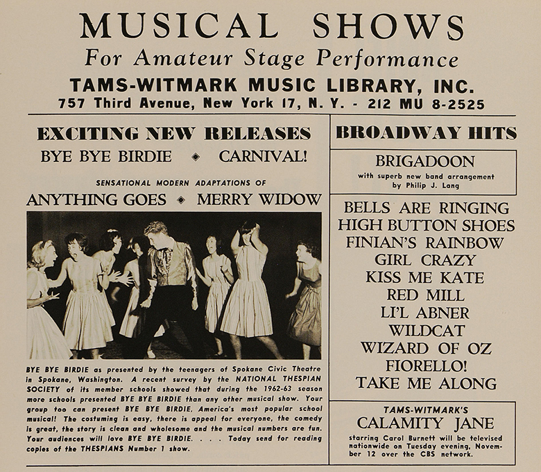This 1963 advertisement in Dramatics touts Bye Bye Birdie as the most-produced musical in high schools during the 1962-63 season.