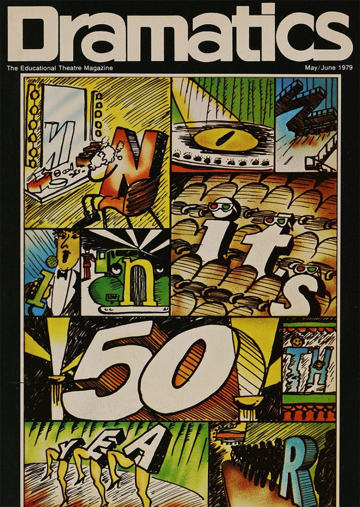 The May 1979 cover of Dramatics celebrating the 50th anniversary of the International Thespian Society.
