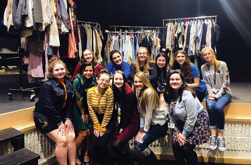 Thespians of Troupe 5299 with the original Broadway wardrobe for Bonnie and Clyde.
