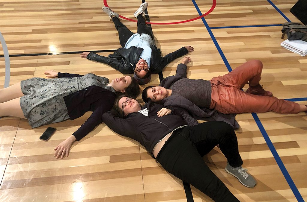 Clockwise from top: movement director Steph Paul, Liliana Padilla, dramaturg Jessica Reese, and director Marti Lyons.