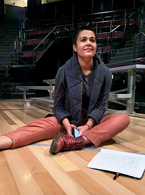 Playwright Liliana Padilla takes notes during rehearsal of How to Defend Yourself at Actors Theatre of Louisville.