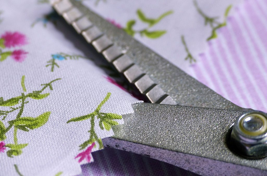 Pinking shears are used to keep fabric edges from fraying.