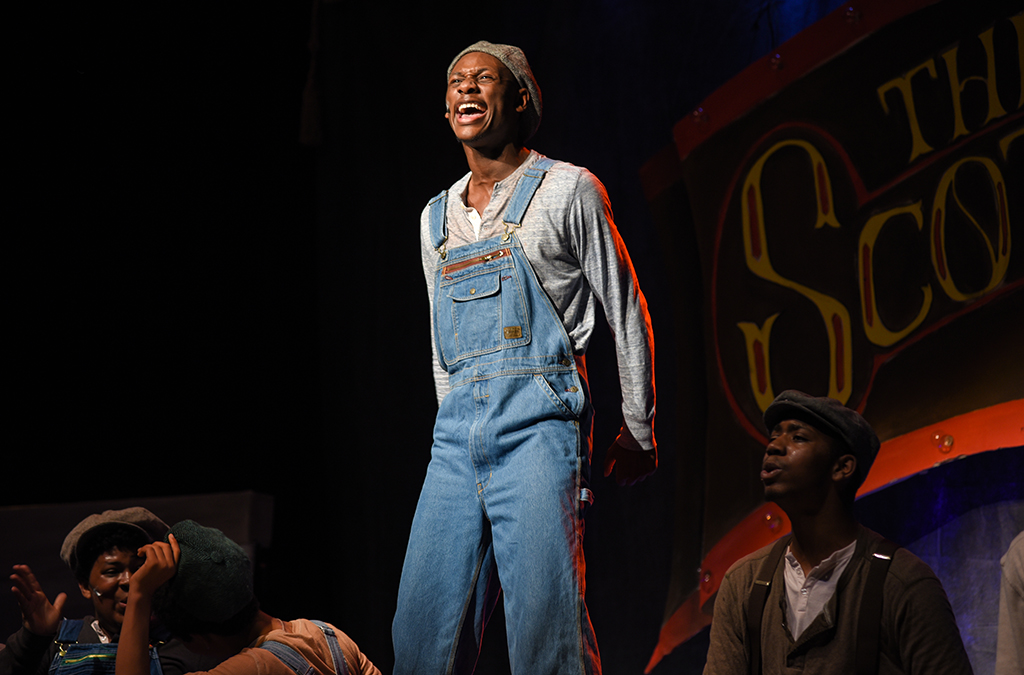 Ben Woods as Haywood Patterson in the Bradford High School production of The Scottsboro Boys.