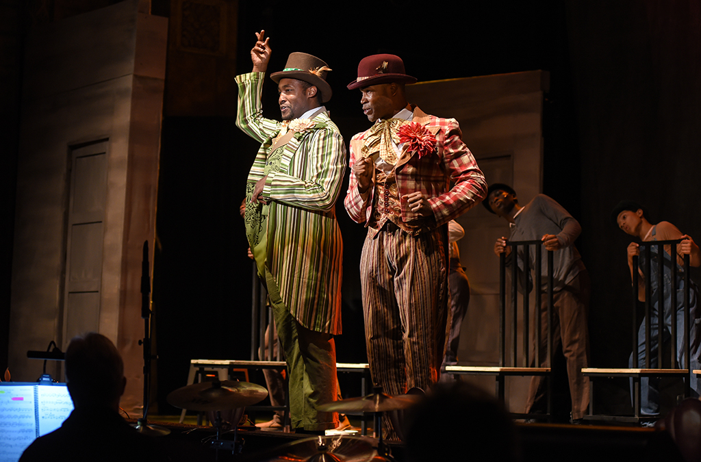 Denzel Tsopnang and David L. Murray in the Bradford High School production of The Scottsboro Boys.