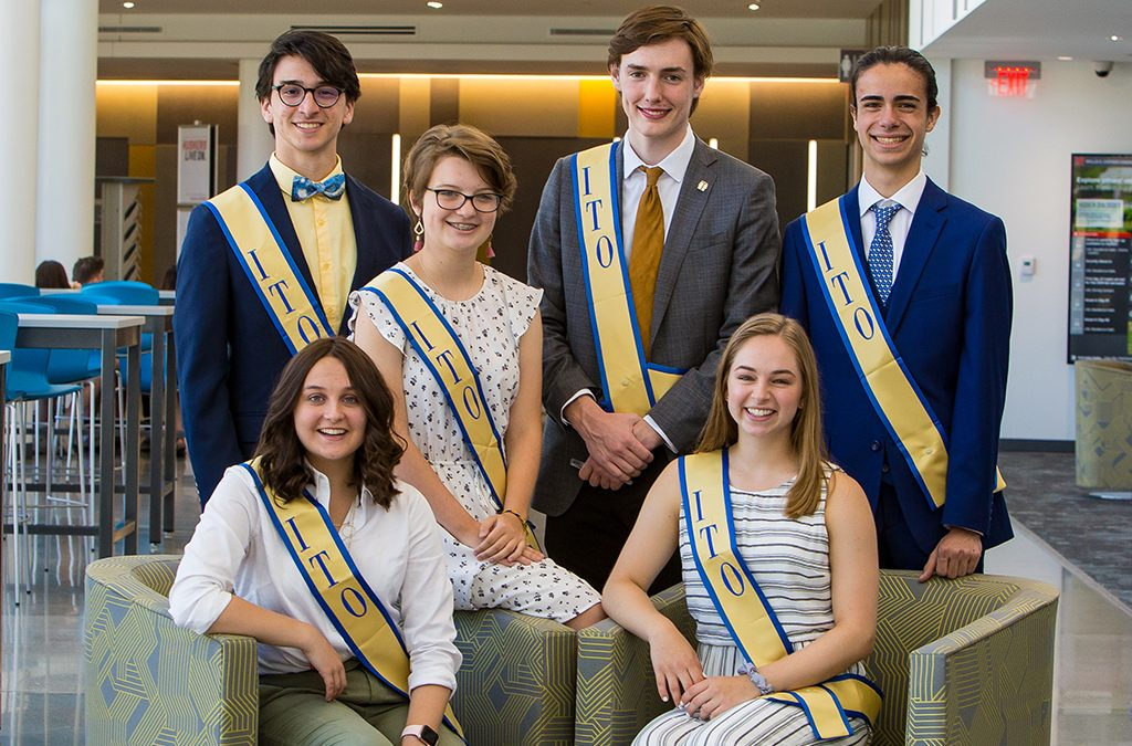 The 2019-20 International Thespian Officers (clockwise from top left): Keith Peacock, Maura Toole, Spencer Angell, Nicolas Fallacaro, Anna Hastings, and Abby Stuckrath.