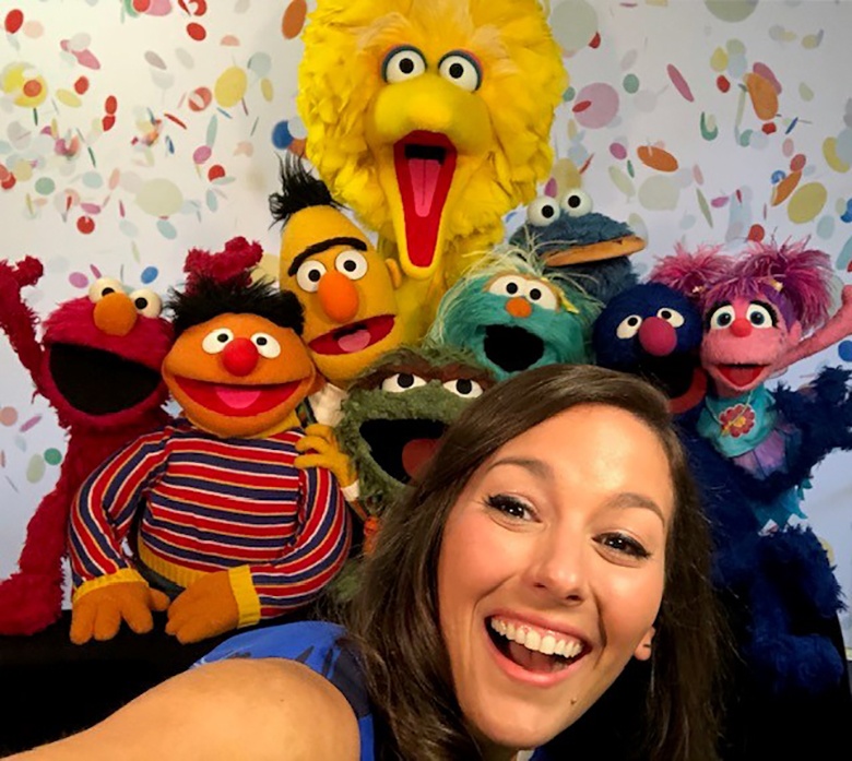 Suki Lopez with her childhood friends, now Muppet co-stars, on Sesame Street.