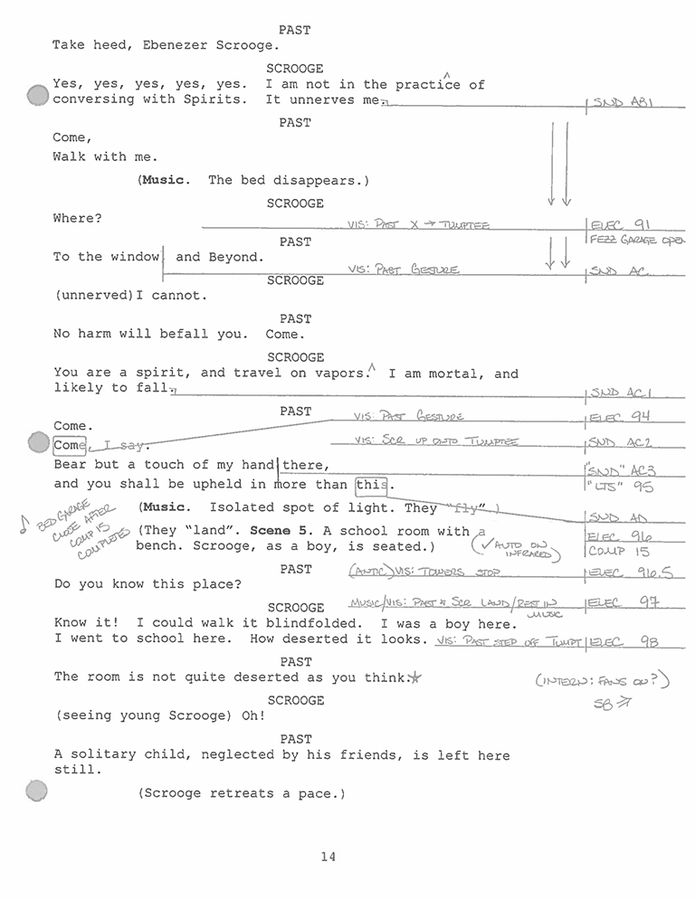 A sample page from the calling script for a professional production of A Christmas Carol.