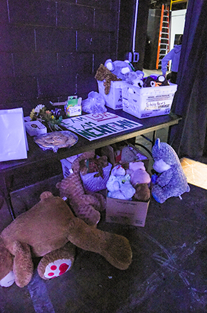 The backstage props table from Parkland High School's 2019 International Thespian Festival production of 26 Pebbles.