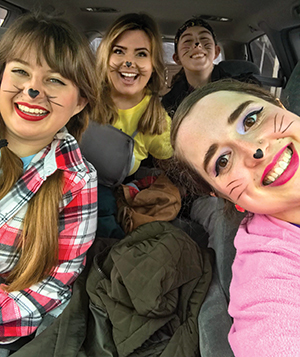 Members of Belmont University's RepCo cast on their way to their first school performance.