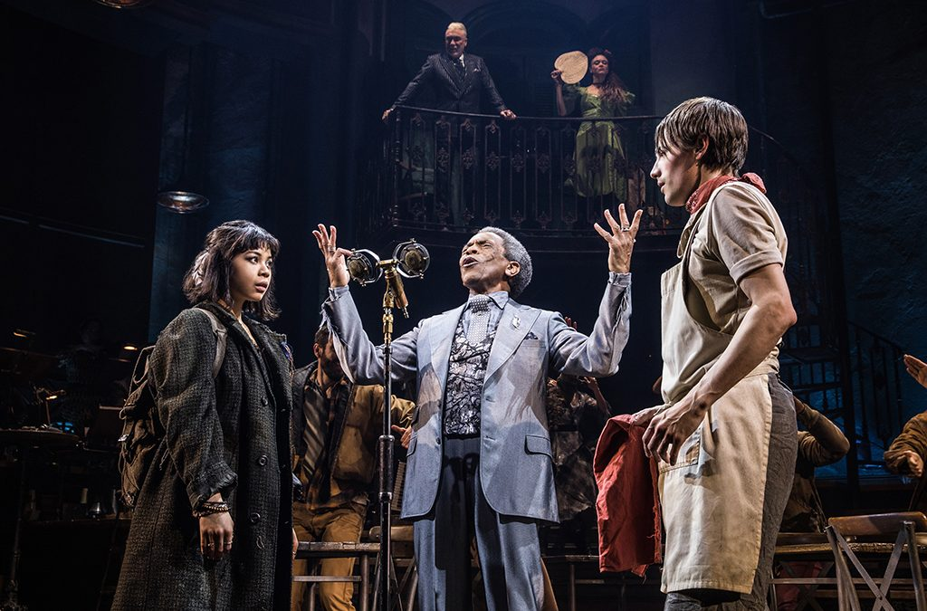 Eva Noblezada, André De Shields, and Reeve Carney in Hadestown.