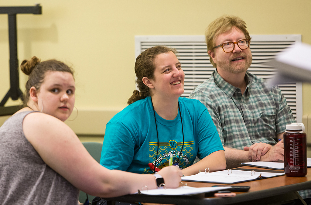 Gabi Garcia (center, with stage manager Lauren Porter and dramaturg Mark D. Kaufmann) in rehearsal for Ismene at the 2019 International Thespian Festival.