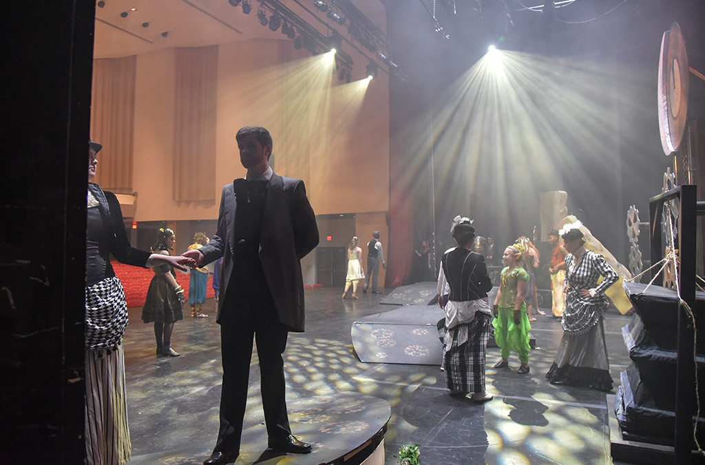 A view from the wings as the Thespians of North Penn H.S. (Lansdale, Pa.) enjoy last-minute rehearsal time for A Midsummer Night's Dream.