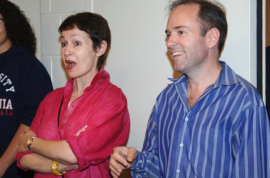 Ragtime creators Lynn Ahrens and Stephen Flaherty visit backstage with the cast of their show at the 2005 International Thespian Festival.