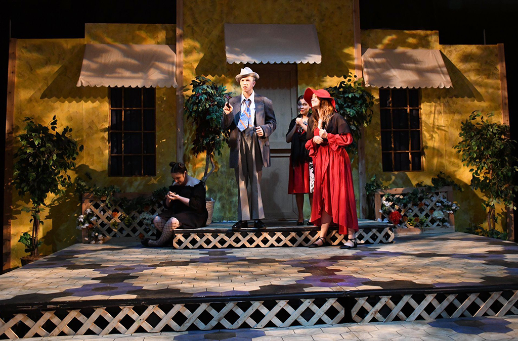 Hannah Hiszczynskyj, Tyler Tiede, Trinity Abril, and Lauren Harmon in the Hayden Catholic High School (Topeka, Kansas) production of The Taming of the Shrew.