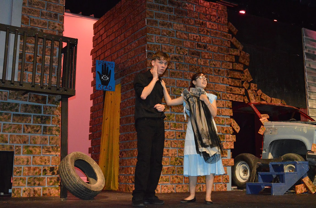Damian Wight and Chantal Charles in the McAllen (Texas) Memorial High School production of The Brothers Grimm Spectaculathon.