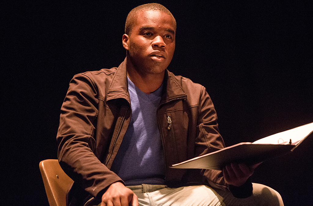 Bryson Schultz performs in the staged reading of All Things Considered.